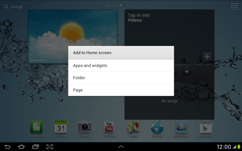 Samsung Galaxy Tab 2 10.1 - Getting started - Installing widgets and applications on your start screen - Step 4