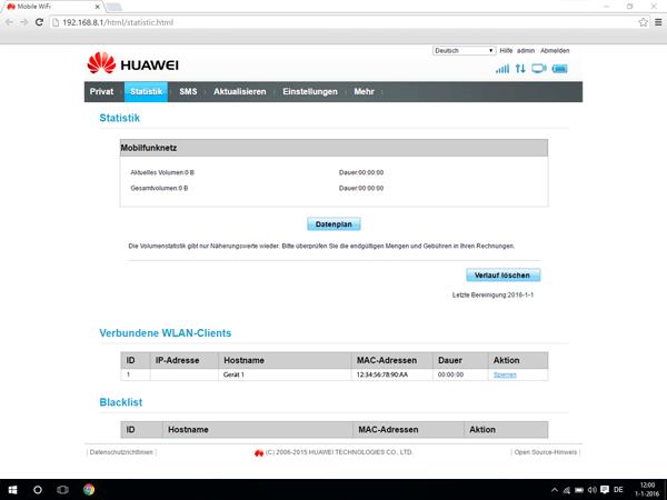 Huawei E5770 - Einstellungen - Benutzereinstellungen ändern - Schritt 2
