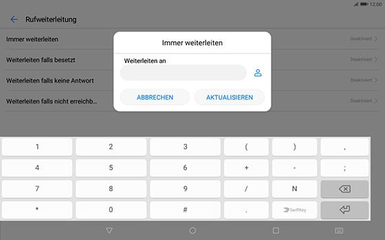 Huawei MediaPad T3 (10.0) LTE - Anrufe - Rufumleitungen setzen und löschen - Schritt 7