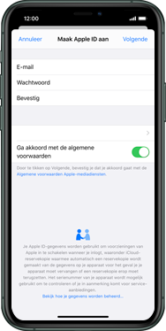 Apple iphone-11-model-a2221 - Applicaties - Account aanmaken - Stap 11