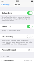 Apple iPhone 5s - Internet and data roaming - How to check if data-connectivity is enabled - Step 5