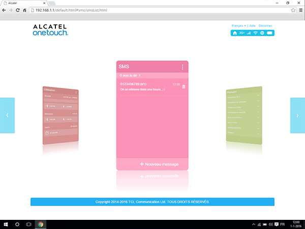 Alcatel MiFi Y900 - Paramètres - envoi de SMS - Étape 7