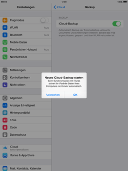 Apple iPad mini 2 - iOS 8 - Apps - Konfigurieren des Apple iCloud-Dienstes - Schritt 13