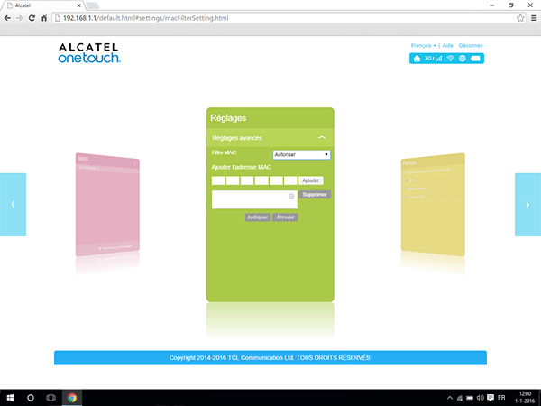 Alcatel MiFi Y900 - Paramètres - Activer un filtre MAC - Étape 6