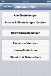 Apple iPhone 3GS - Gerät - Zurücksetzen auf die Werkseinstellungen - Schritt 5
