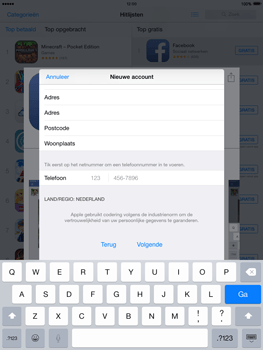 Apple iPad 2 iOS 8 - Applicaties - Account aanmaken - Stap 22