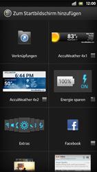 Sony Xperia S - Startanleitung - Installieren von Widgets und Apps auf der Startseite - Schritt 4