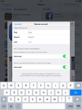 Apple iPad 2 iOS 8 - Applicaties - Account aanmaken - Stap 15