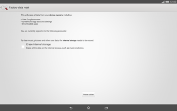 Sony Xperia Tablet Z2 LTE - Mobile phone - Resetting to factory settings - Step 6
