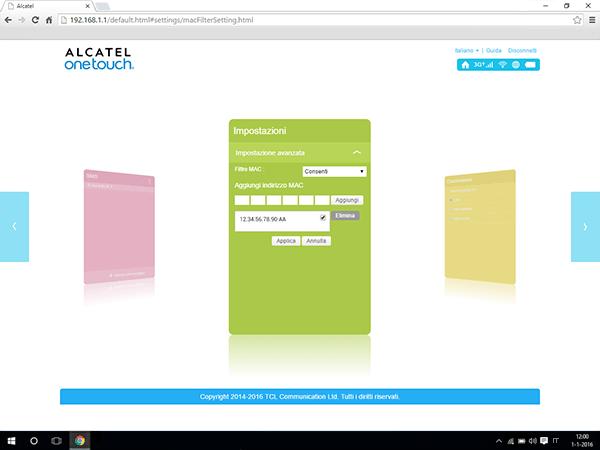 Alcatel MiFi Y900 - Impostazioni - abilitare filtro MAC - Fase 8