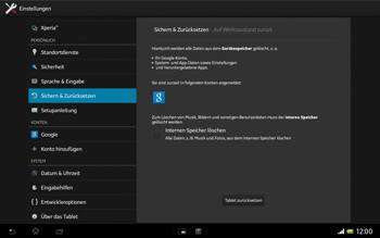 Sony Xperia Tablet Z LTE - Fehlerbehebung - Handy zurücksetzen - Schritt 8