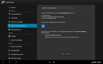 Sony Xperia Tablet Z LTE - Fehlerbehebung - Handy zurücksetzen - 1 / 1