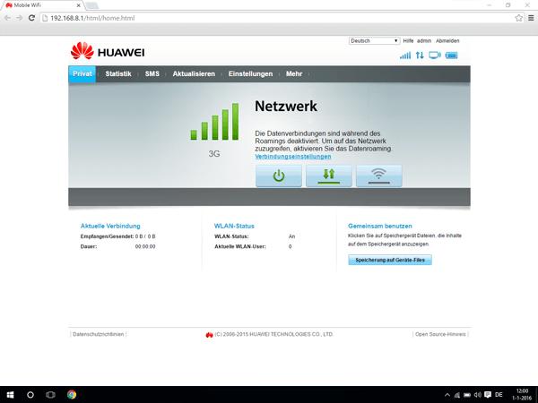 Huawei E5770 - Internet und Datenroaming - Deaktivieren von Datenroaming - Schritt 1