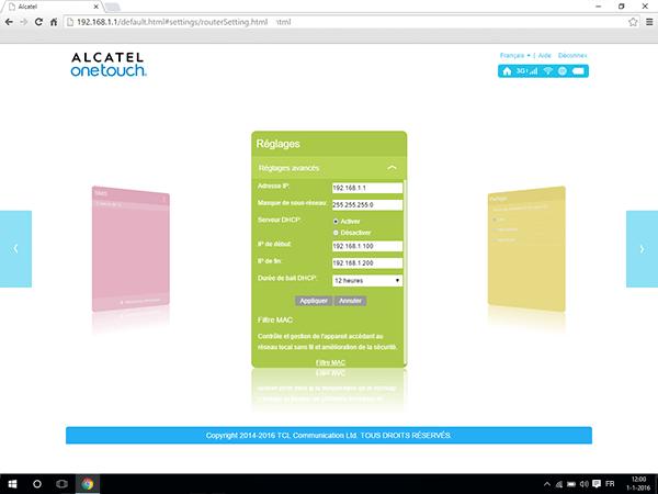 Alcatel MiFi Y900 - Paramètres - Activer un filtre MAC - Étape 4
