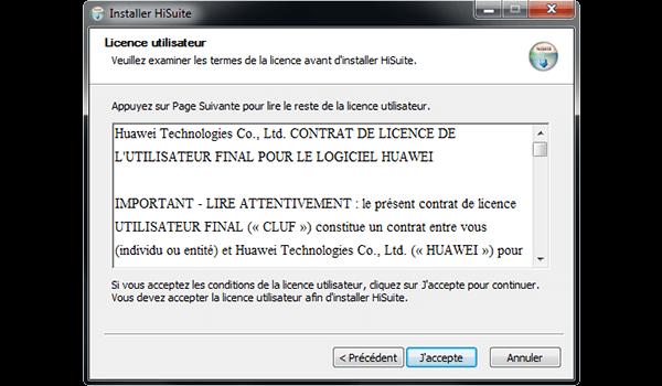 Huawei Mate 9 - Logiciels - Installation du logiciel de synchronisation PC - Étape 6