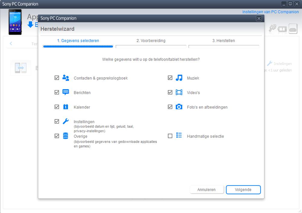 Sony E2303 Xperia M4 Aqua - Software - Backup maken van je toestel - Stap 10