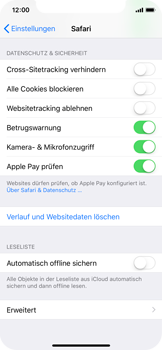 Apple iPhone X - iOS 11 - Neue Datenschutz- und Sicherheitsfunktionen für Safari aktivieren - 4 / 6