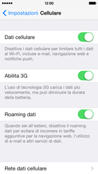 Apple iPhone 5s - Internet e roaming dati - disattivazione del roaming dati - Fase 4