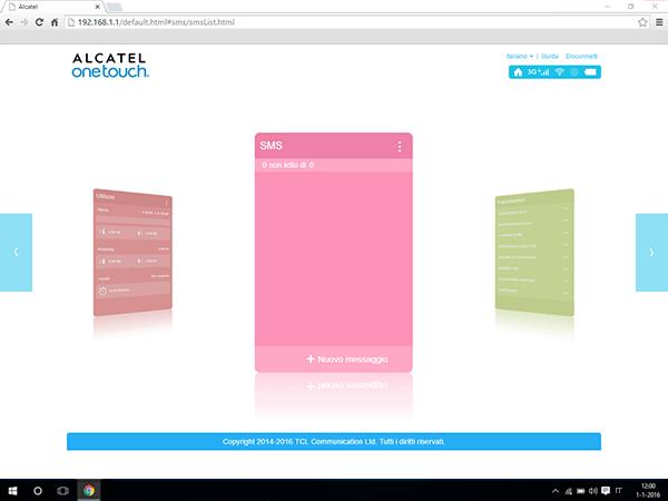 Alcatel MiFi Y900 - Impostazioni - Inviare SMS - Fase 2