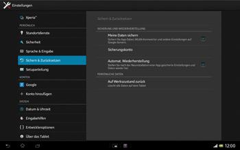 Sony Xperia Tablet Z LTE - Fehlerbehebung - Handy zurücksetzen - Schritt 7