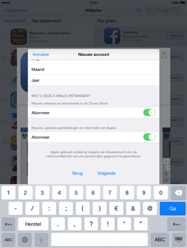 Apple iPad 2 iOS 8 - Applicaties - Account aanmaken - Stap 16