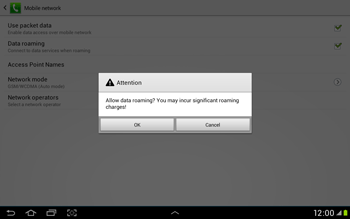 Samsung Galaxy Tab 2 10.1 - Internet and data roaming - Disabling data roaming - Step 7