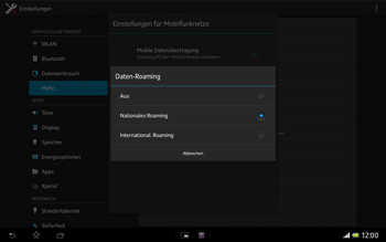 Sony Xperia Tablet Z LTE - Ausland - Im Ausland surfen – Datenroaming - Schritt 9
