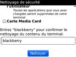 BlackBerry curve 3G - Aller plus loin - Restaurer les paramètres d'usines - Étape 9