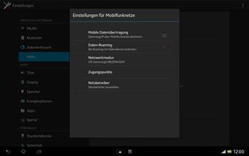 Sony Xperia Tablet Z LTE - Netzwerk - Manuelle Netzwerkwahl - Schritt 6