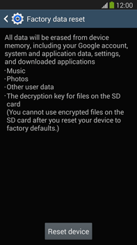 Samsung Galaxy Note III LTE - Mobile phone - Resetting to factory settings - Step 7