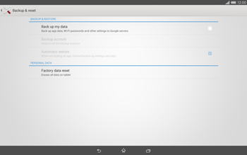 Sony Xperia Tablet Z2 LTE - Mobile phone - Resetting to factory settings - Step 5