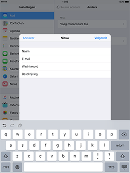 Apple iPad mini 4 iOS 10 - E-mail - e-mail instellen: POP3 - Stap 9