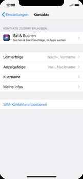 Apple iPhone X - Kontakte - Kontakte von der SIM auf das Telefon importieren - 0 / 0