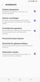 Samsung Galaxy S8 Plus - Datenschutz und Sicherheit - Datenschutzeinstellungen des Browsers ändern - 9 / 18