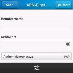 BlackBerry Q10 - Internet und Datenroaming - Manuelle Konfiguration - Schritt 9