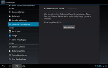 Asus Padfone 2 - Fehlerbehebung - Handy zurücksetzen - Schritt 10