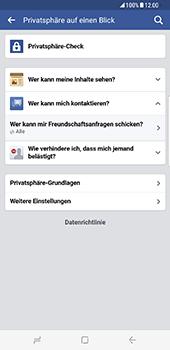 Samsung Galaxy S8 Plus - Datenschutz und Sicherheit - Datenschutzeinstellungen von Facebook ändern - 24 / 35