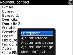 BlackBerry curve 3G - Contact, Appels, SMS/MMS - Ajouter un contact - Étape 9
