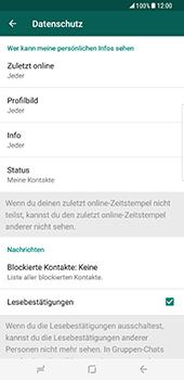 Samsung Galaxy S8 Plus - Datenschutz und Sicherheit - WhatsApp schützen und Datenschutz verwalten - 16 / 18
