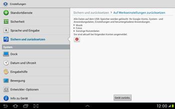 Samsung Galaxy Tab 2 10.1 - Gerät - Zurücksetzen auf die Werkseinstellungen - Schritt 6