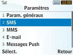 Samsung S3350 Chat 335 - SMS - Configuration manuelle - Étape 5