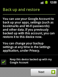 Samsung Galaxy Y - Applications - Setting up the application store - Step 14