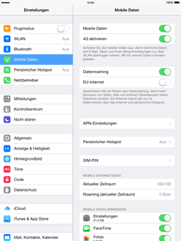 Apple iPad mini - iOS 8 - Internet und Datenroaming - Deaktivieren von Datenroaming - Schritt 4