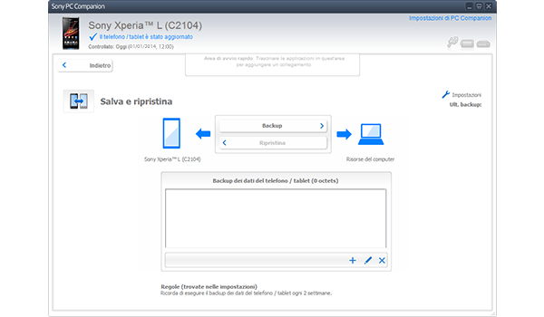 Sony Xperia Z1 Compact - Software - Come eseguire un backup del dispositivo - Fase 5