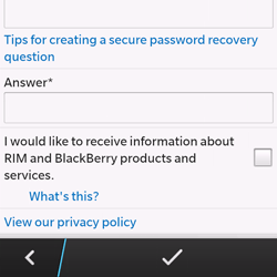 BlackBerry Q10 - Applications - Setting up the application store - Step 13