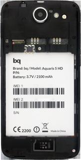 BQ Aquaris 5 HD - Primeros pasos - Quitar y colocar la batería - Paso 3