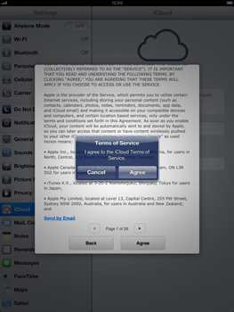 Apple iPad mini - Applications - configuring the Apple iCloud Service - Step 7