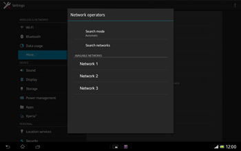 Sony Xperia Tablet Z LTE - Network - Manual network selection - Step 8