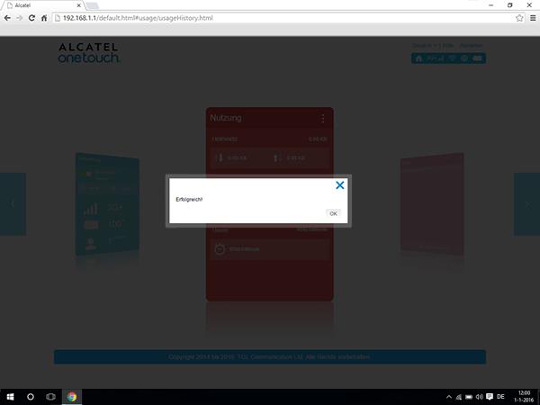 Alcatel MiFi Y900 - Einstellungen - Benutzereinstellungen ändern - Schritt 12