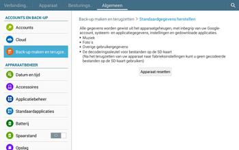 Samsung Galaxy Tab4 10.1 4G (SM-T535) - Instellingen aanpassen - Fabrieksinstellingen terugzetten - Stap 7